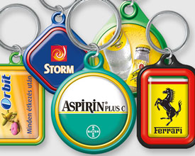 Keyrings with epoxy sticker